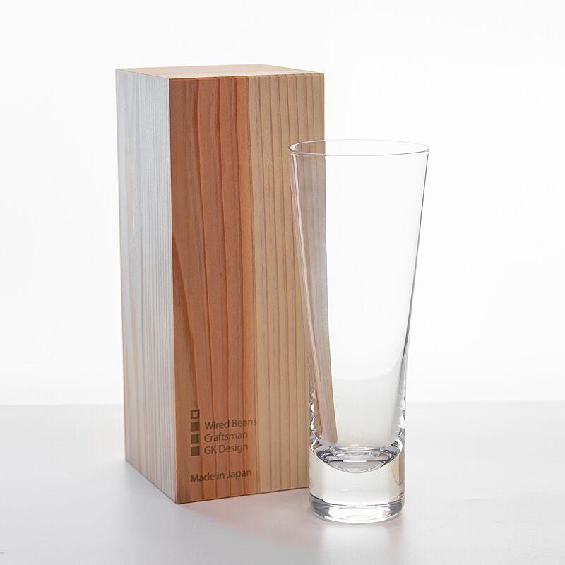 生涯を添い遂げるグラス ビア トランスペアレント(透明)国産杉箱入り